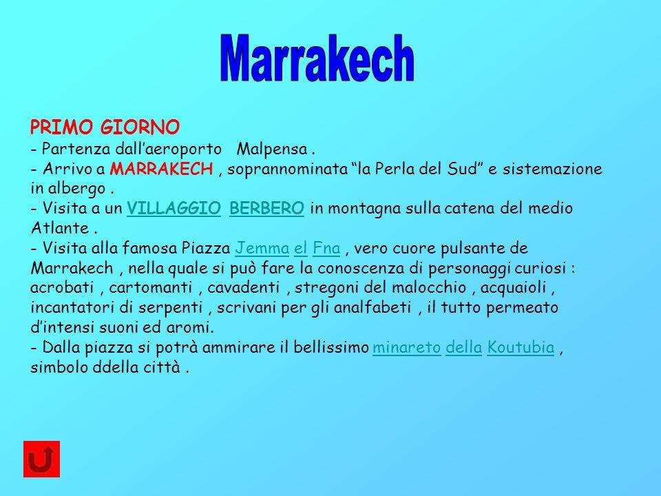Marrakech PRIMO GIORNO - Partenza dall'aeroporto Malpensa .