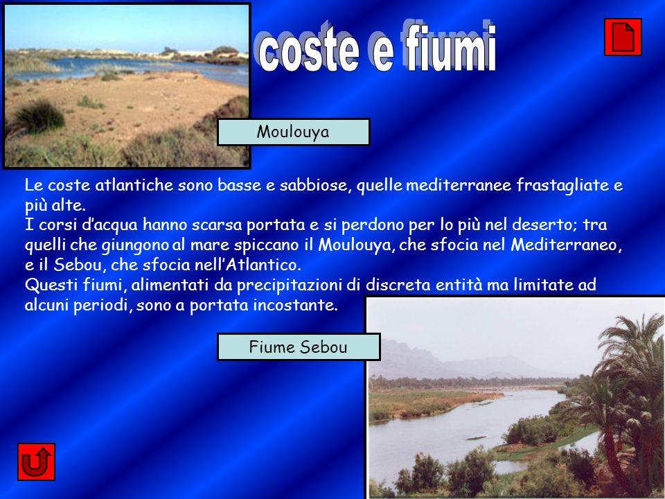 coste e fiumi Moulouya. Le coste atlantiche sono basse e sabbiose, quelle mediterranee frastagliate e più alte.