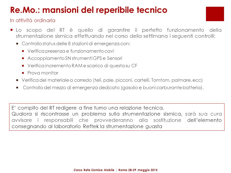 Re.Mo.: mansioni del reperibile tecnico