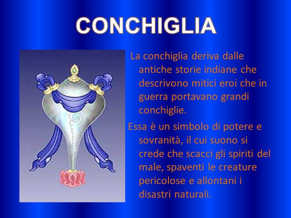 CONCHIGLIALa conchiglia deriva dalle antiche storie indiane che descrivono mitici eroi che in guerra portavano grandi conchiglie.