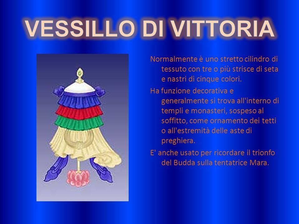 VESSILLO DI VITTORIANormalmente è uno stretto cilindro di tessuto con tre o più strisce di seta e nastri di cinque colori.