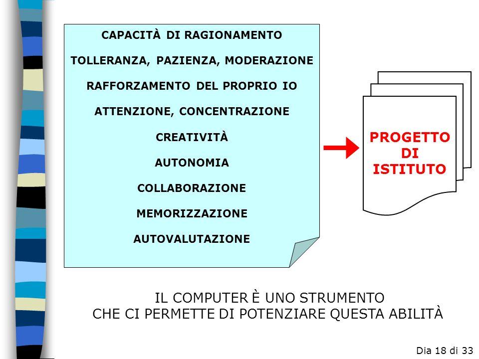 In sintesi: PROGETTO DI ISTITUTO IL COMPUTER È UNO STRUMENTO