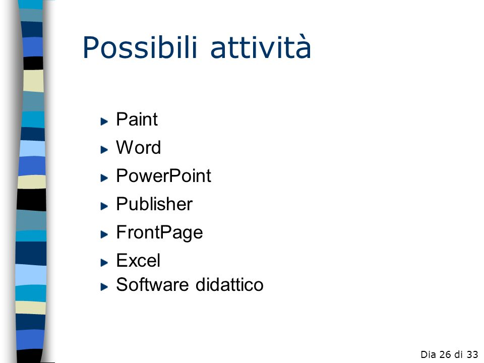 Possibili attività Paint Word PowerPoint Publisher FrontPage Excel