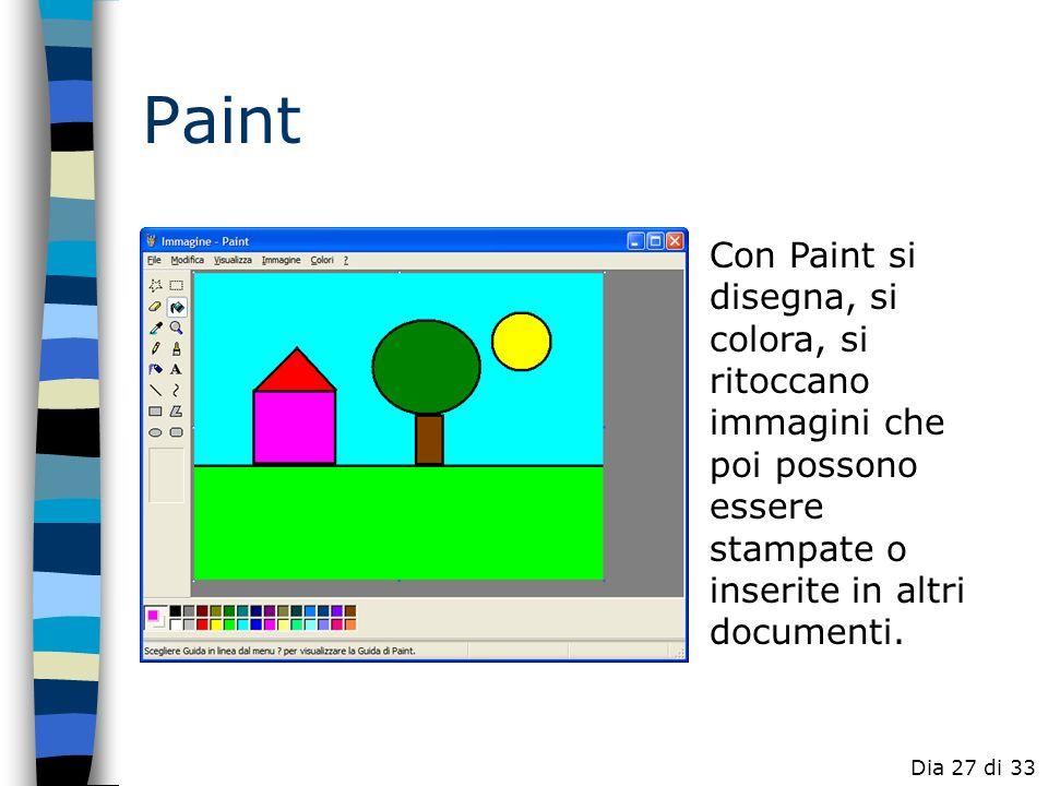 Paint Con Paint si disegna, si colora, si ritoccano immagini che poi possono essere stampate o inserite in altri documenti.