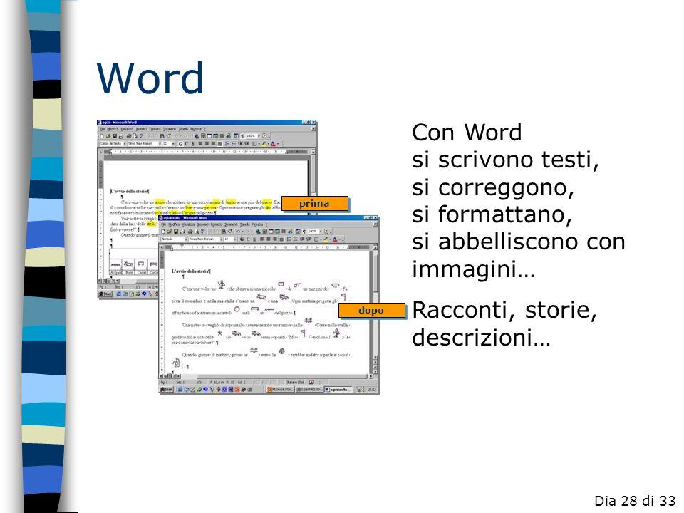 WordCon Word si scrivono testi, si correggono, si formattano, si abbelliscono con immagini… Racconti, storie, descrizioni…