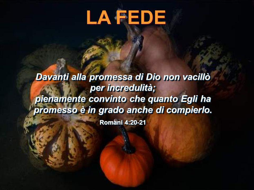 LA FEDE La fede vede l'invisibile, crede l'incredibile, e riceve l'impossibile.