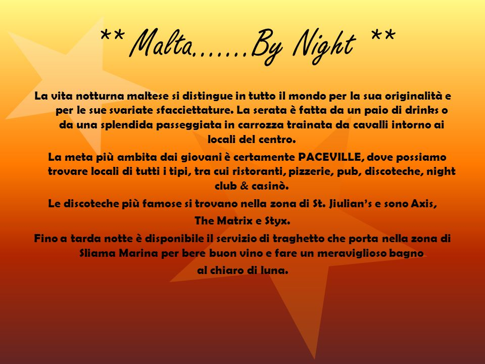 ** Malta…….By Night **