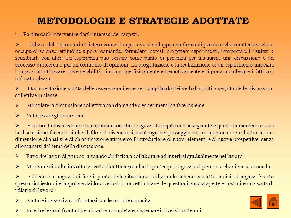 METODOLOGIE E STRATEGIE ADOTTATE