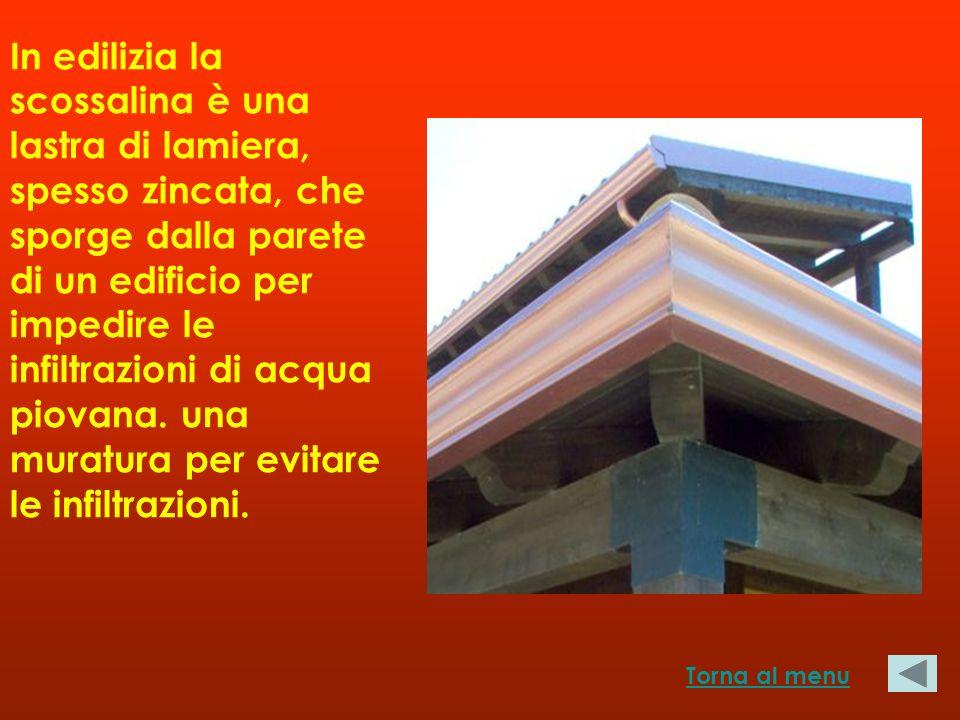 In edilizia la scossalina è una lastra di lamiera, spesso zincata, che sporge dalla parete di un edificio per impedire le infiltrazioni di acqua piovana. una muratura per evitare le infiltrazioni.