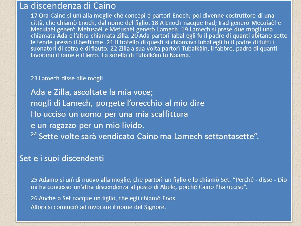 La discendenza di Caino