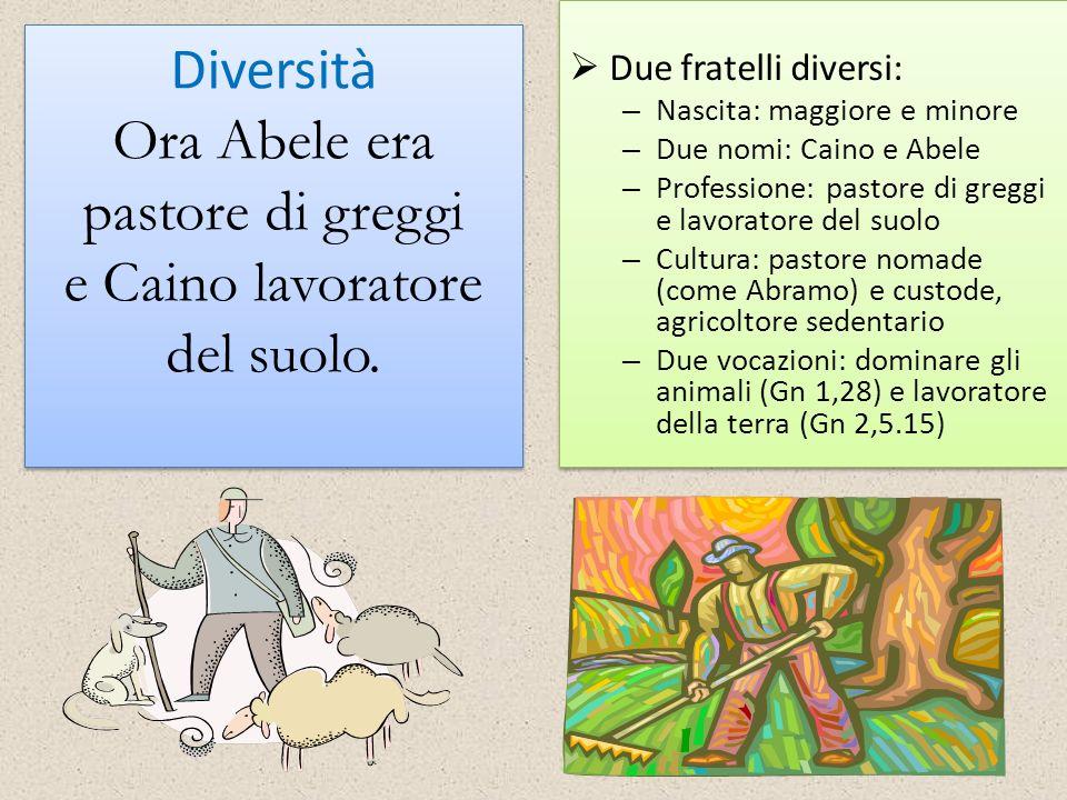 Due fratelli diversi: Nascita: maggiore e minore. Due nomi: Caino e Abele. Professione: pastore di greggi e lavoratore del suolo.