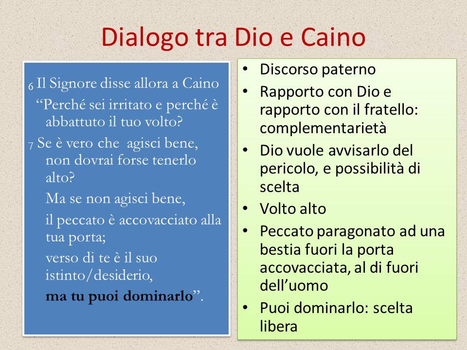Dialogo tra Dio e Caino Discorso paterno. Rapporto con Dio e rapporto con il fratello: complementarietà.