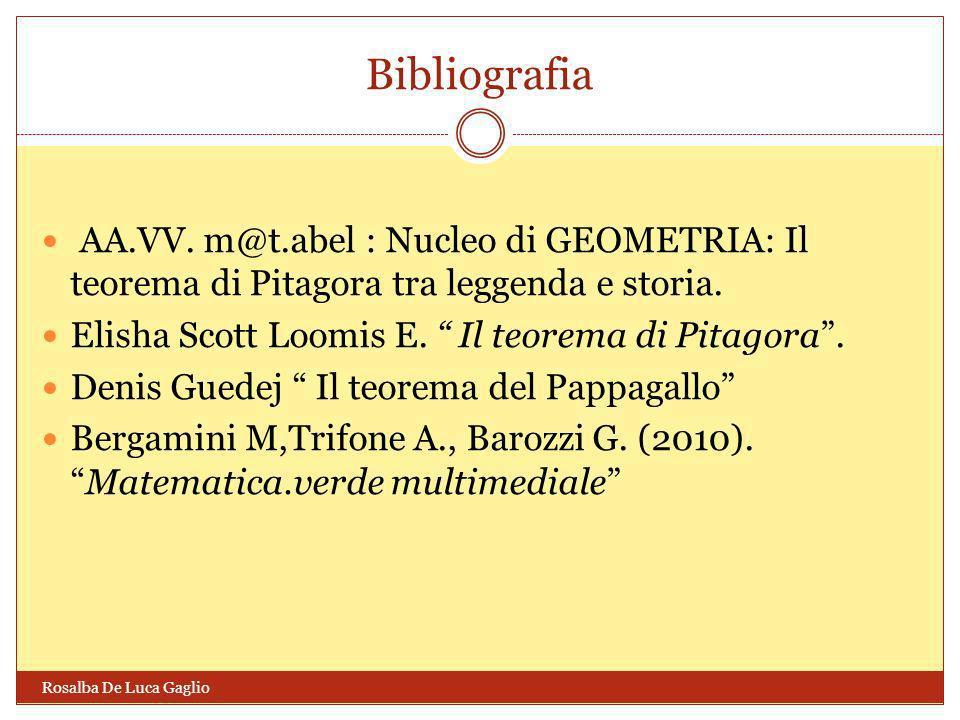 Bibliografia AA.VV. m@t.abel : Nucleo di GEOMETRIA: Il teorema di Pitagora tra leggenda e storia. Elisha Scott Loomis E. Il teorema di Pitagora .