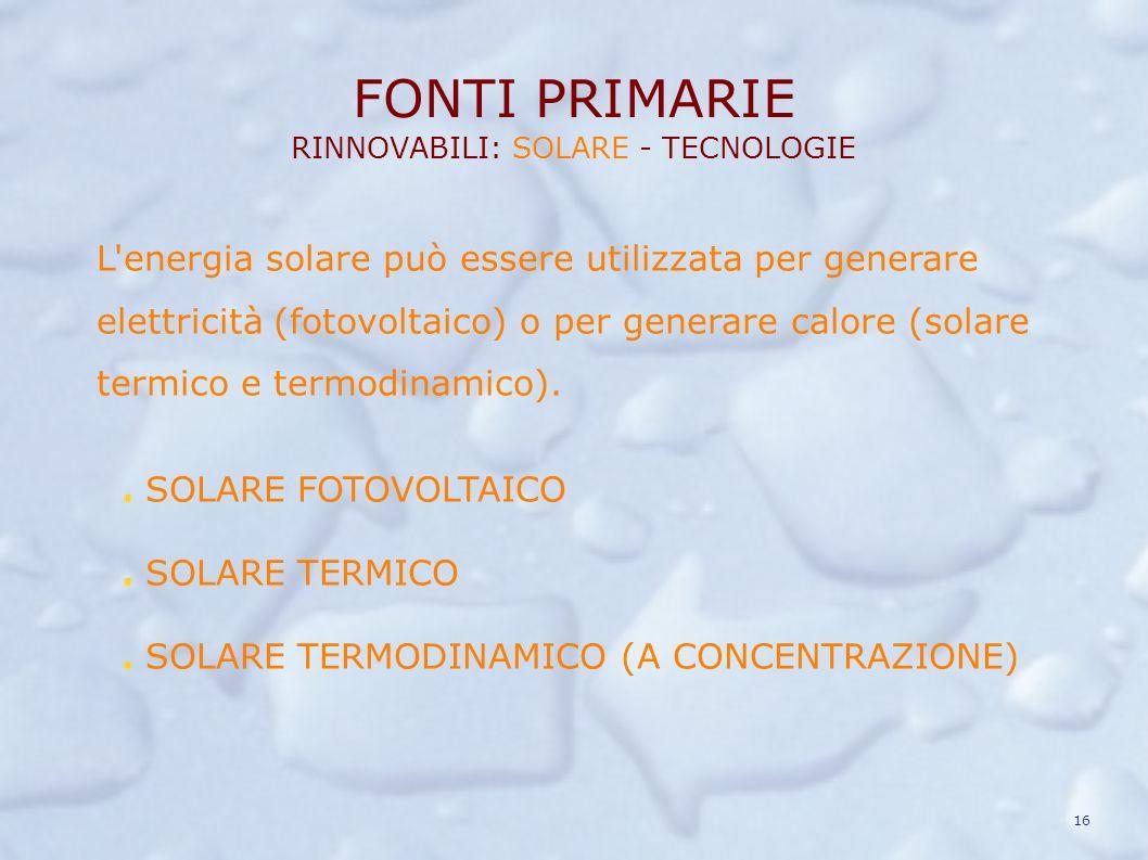 FONTI PRIMARIE RINNOVABILI: SOLARE - TECNOLOGIE