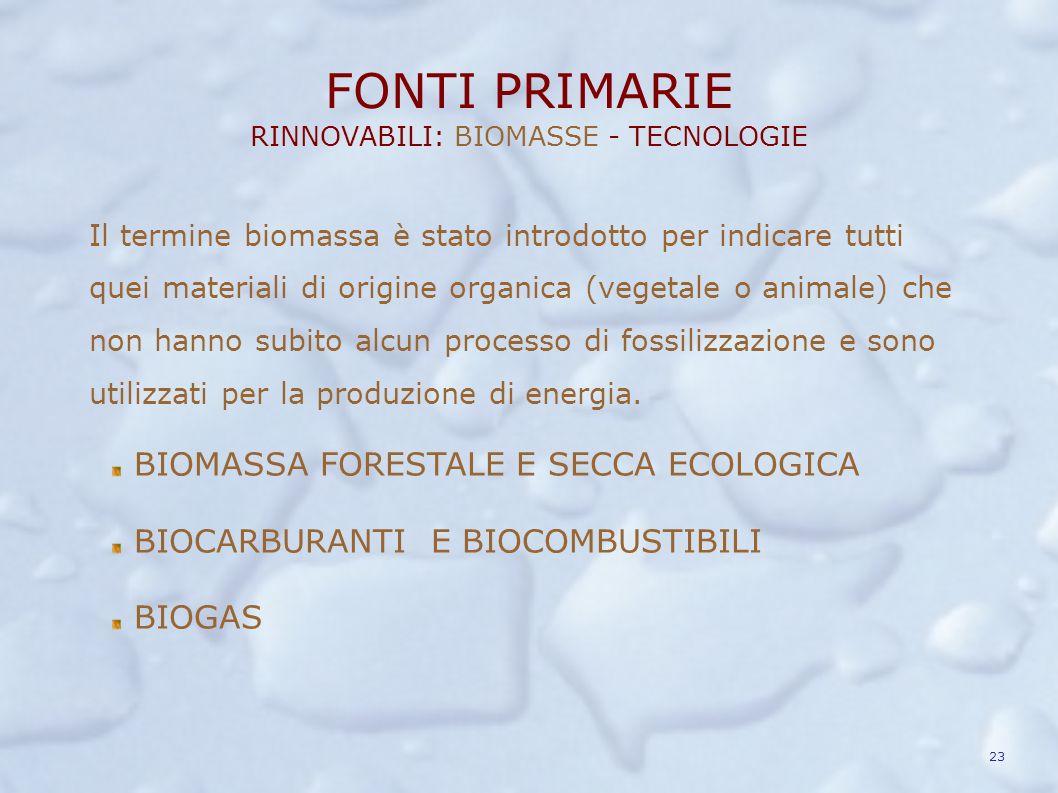 FONTI PRIMARIE RINNOVABILI: BIOMASSE - TECNOLOGIE