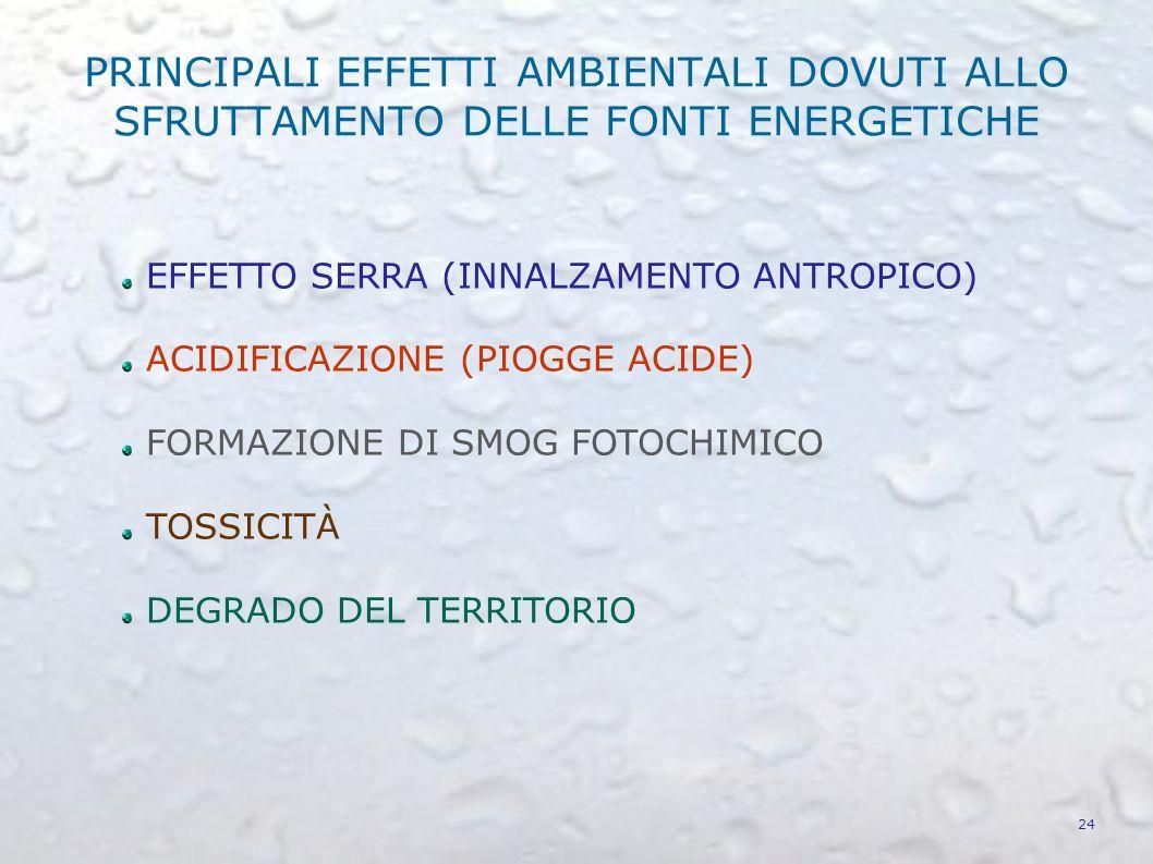 PRINCIPALI EFFETTI AMBIENTALI DOVUTI ALLO SFRUTTAMENTO DELLE FONTI ENERGETICHE