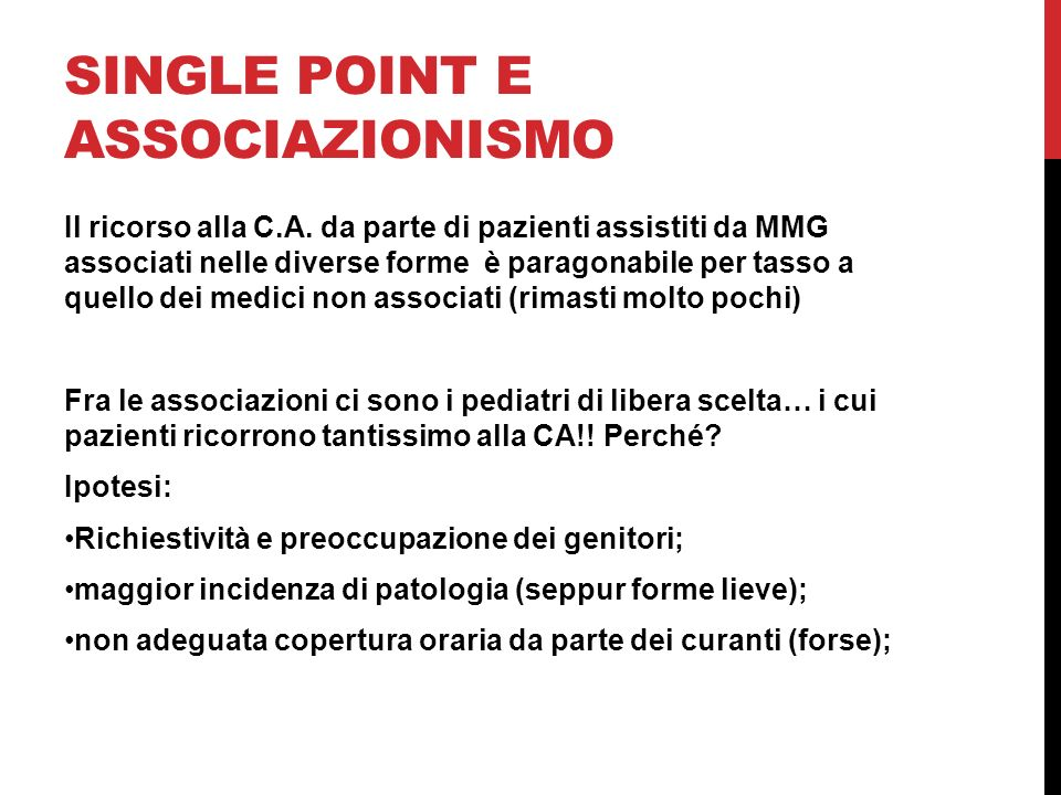 SINGLE POINT E ASSOCIAZIONISMO