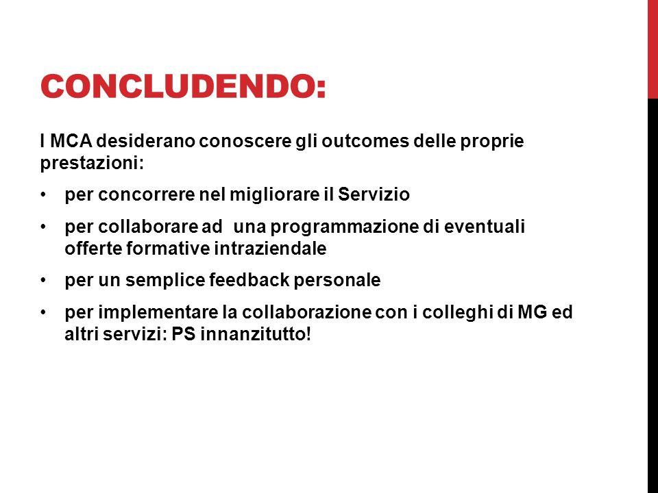 Concludendo: I MCA desiderano conoscere gli outcomes delle proprie prestazioni: per concorrere nel migliorare il Servizio.