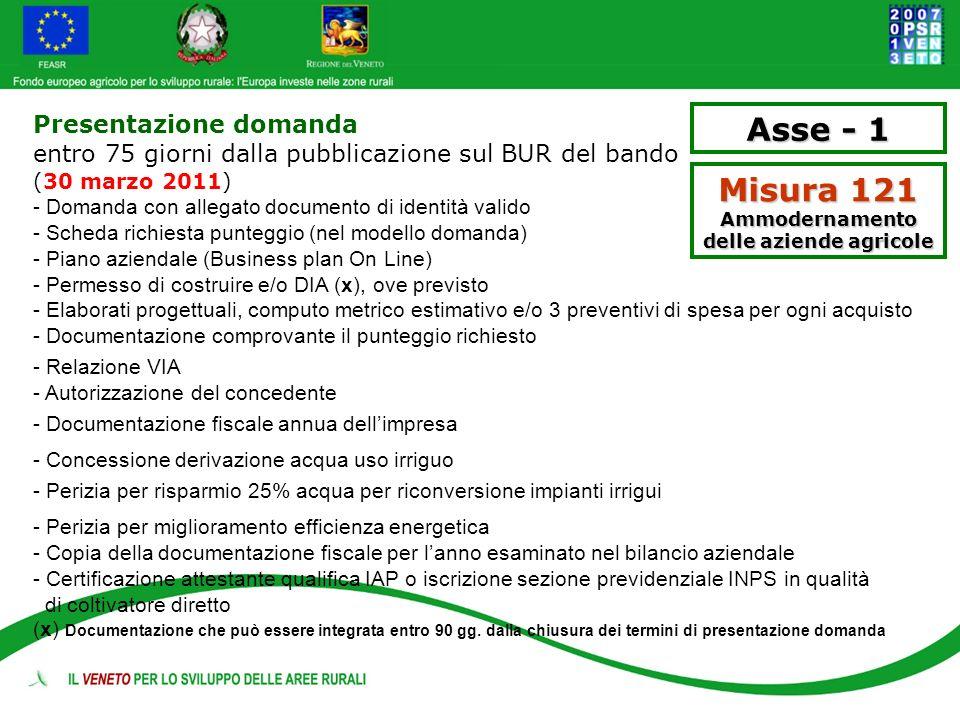 Misura 121 Ammodernamento delle aziende agricole