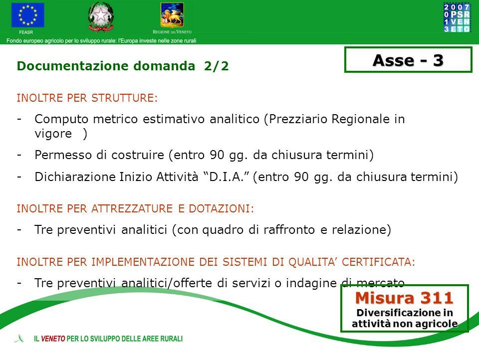 Misura 311 Diversificazione in attività non agricole