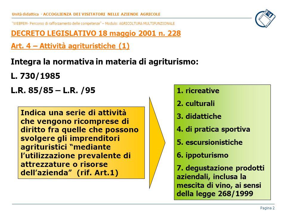 Integra la normativa in materia di agriturismo: L. 730/1985
