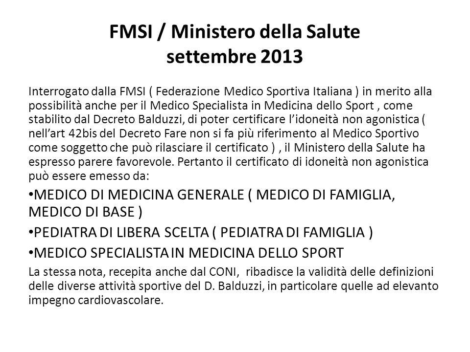 FMSI / Ministero della Salute settembre 2013