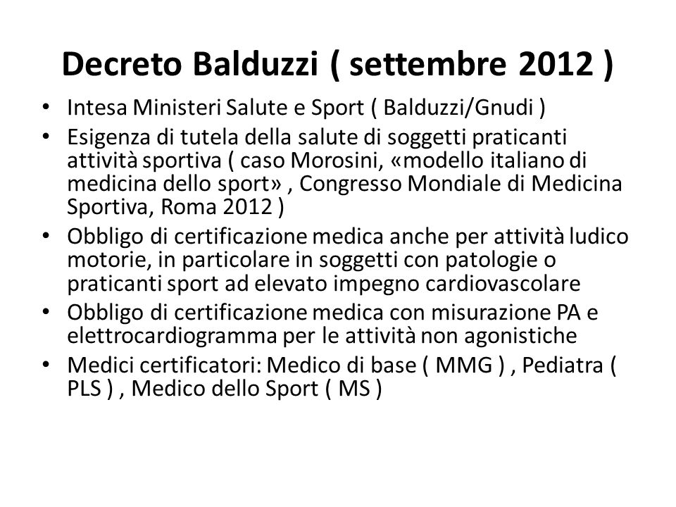 Decreto Balduzzi ( settembre 2012 )