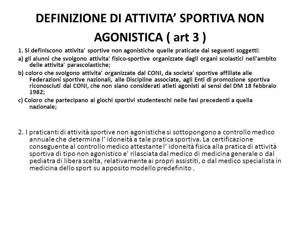 DEFINIZIONE DI ATTIVITA' SPORTIVA NON AGONISTICA ( art 3 )