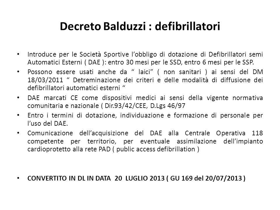 Decreto Balduzzi : defibrillatori