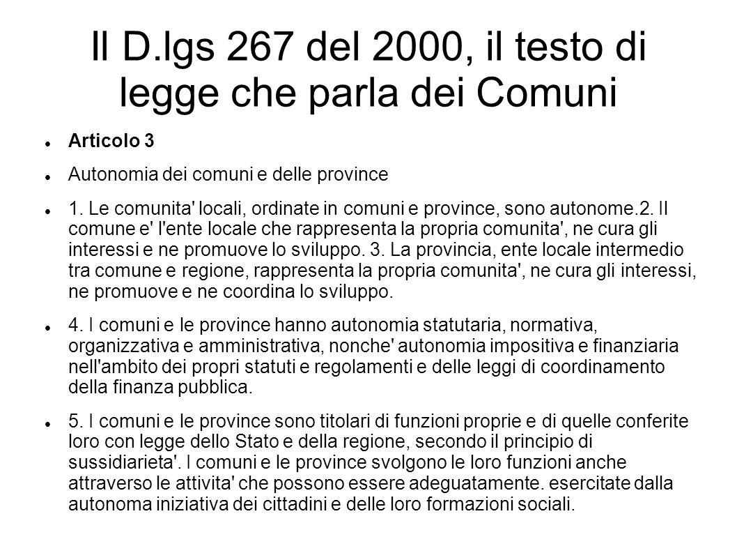 Il D.lgs 267 del 2000, il testo di legge che parla dei Comuni
