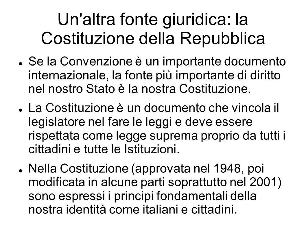Un altra fonte giuridica: la Costituzione della Repubblica