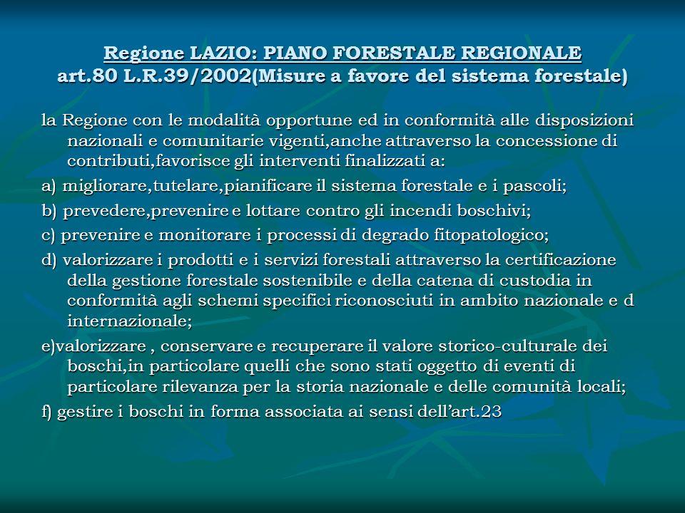 Regione LAZIO: PIANO FORESTALE REGIONALE art. 80 L. R
