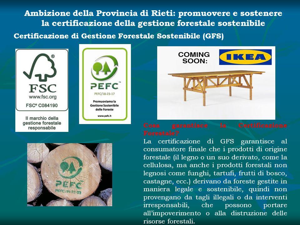 Ambizione della Provincia di Rieti: promuovere e sostenere la certificazione della gestione forestale sostenibile