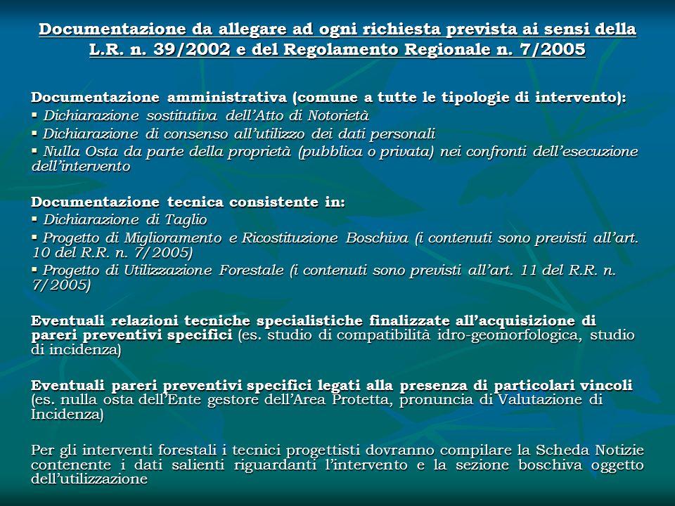 Documentazione da allegare ad ogni richiesta prevista ai sensi della L