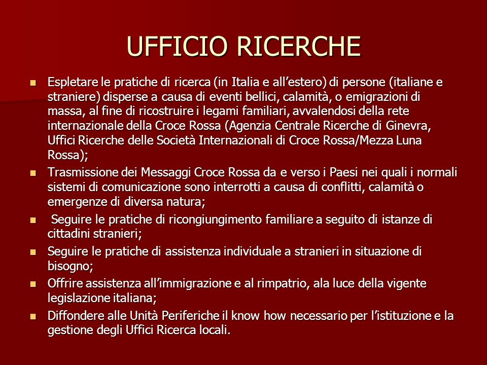 UFFICIO RICERCHE
