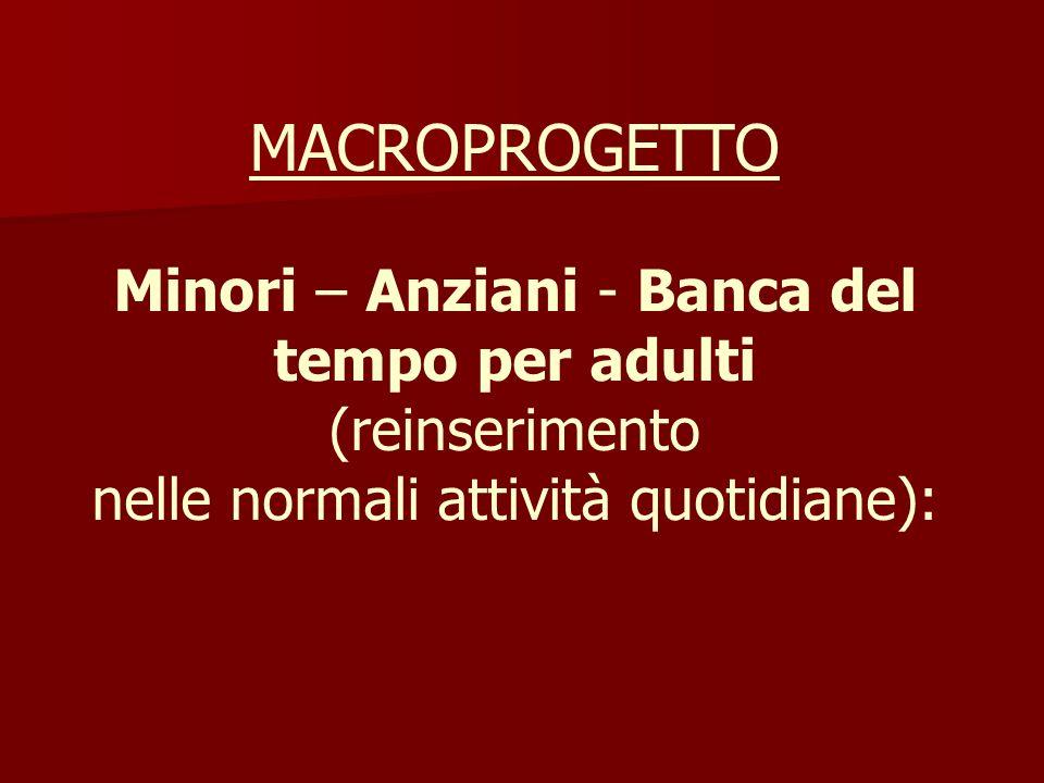MACROPROGETTO Minori – Anziani - Banca del tempo per adulti (reinserimento nelle normali attività quotidiane):