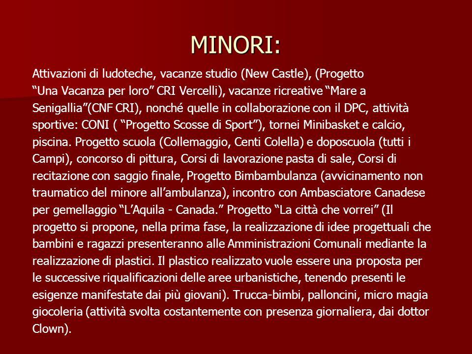 MINORI: Attivazioni di ludoteche, vacanze studio (New Castle), (Progetto. Una Vacanza per loro CRI Vercelli), vacanze ricreative Mare a.