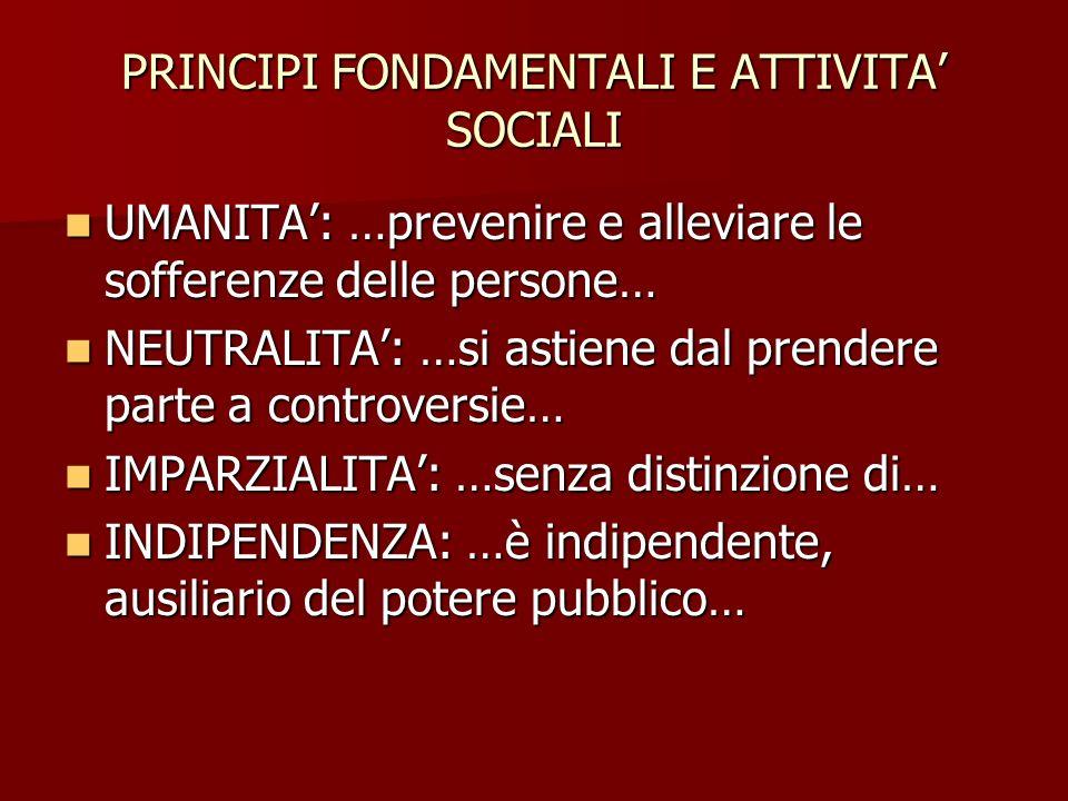 PRINCIPI FONDAMENTALI E ATTIVITA' SOCIALI