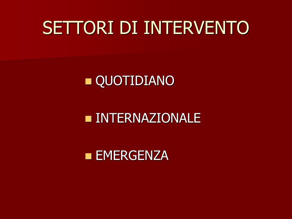 SETTORI DI INTERVENTO QUOTIDIANO INTERNAZIONALE EMERGENZA
