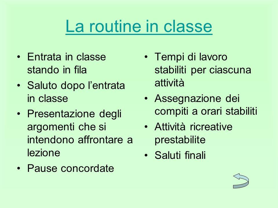 La routine in classe Entrata in classe stando in fila
