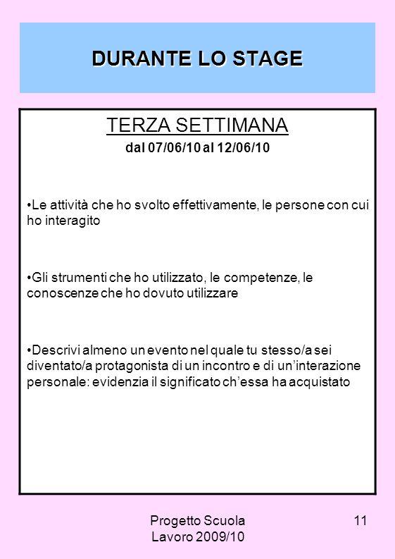 Progetto Scuola Lavoro 2009/10