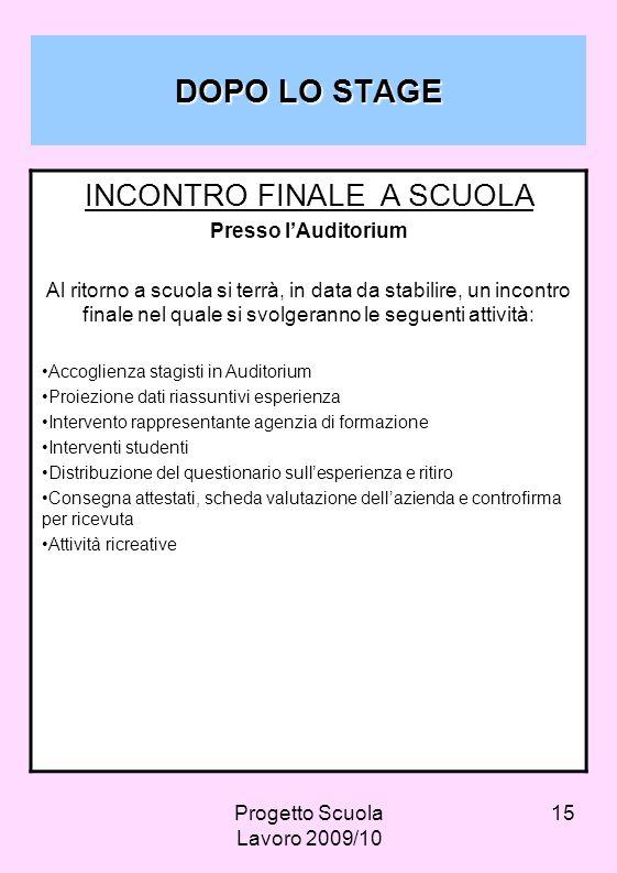 DOPO LO STAGE INCONTRO FINALE A SCUOLA Presso l'Auditorium