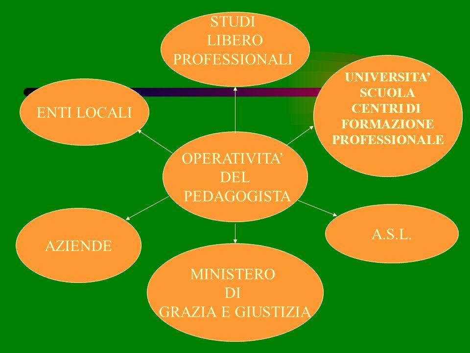 STUDI LIBERO PROFESSIONALI ENTI LOCALI OPERATIVITA' DEL PEDAGOGISTA