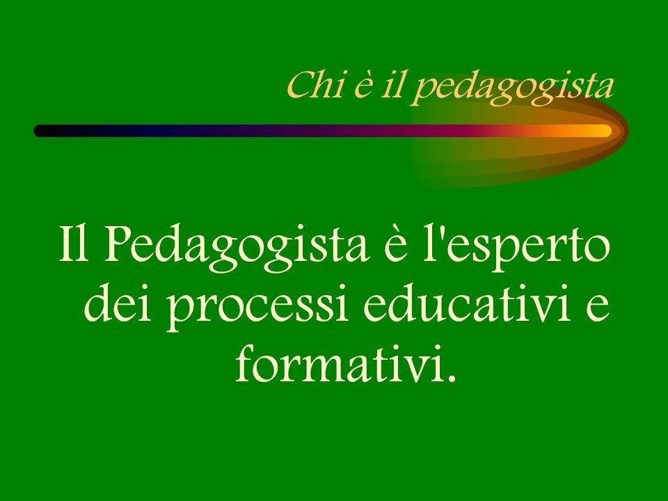Il Pedagogista è l esperto dei processi educativi e formativi.