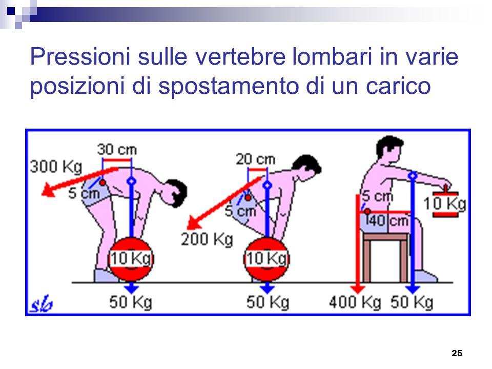 Pressioni sulle vertebre lombari in varie posizioni di spostamento di un carico