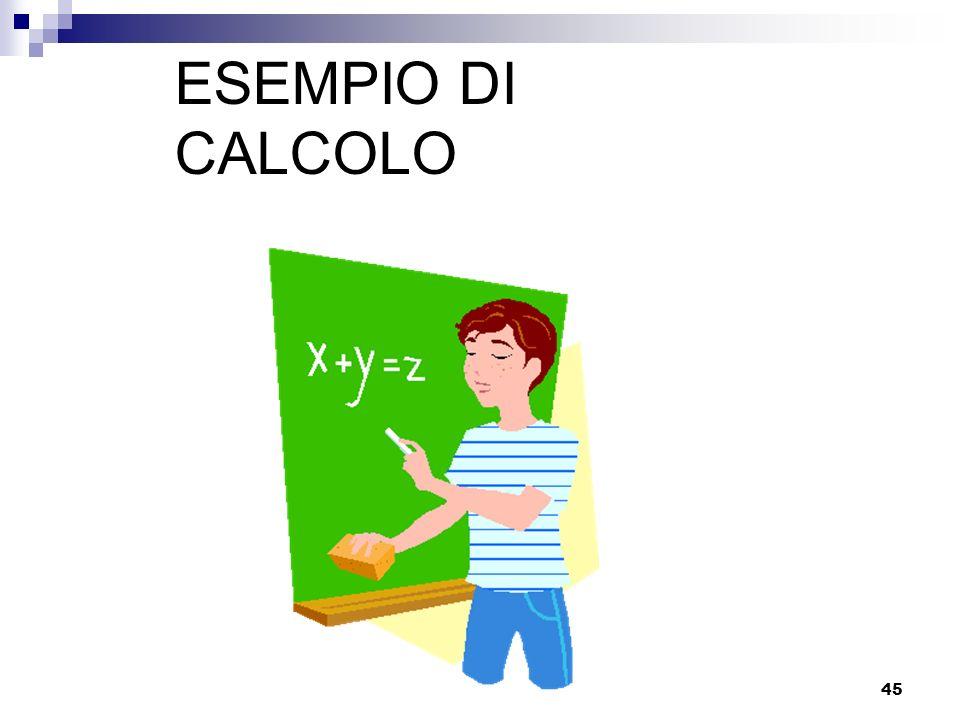 ESEMPIO DI CALCOLO