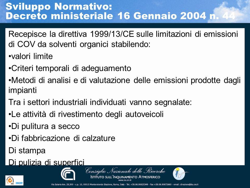 Sviluppo Normativo: Decreto ministeriale 16 Gennaio 2004 n. 44