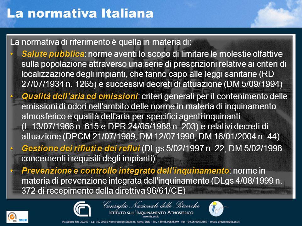 La normativa Italiana La normativa di riferimento è quella in materia di: