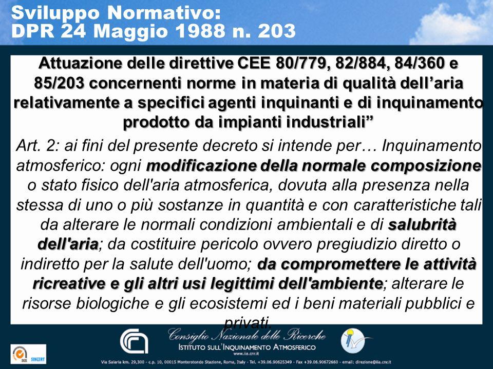 Sviluppo Normativo: DPR 24 Maggio 1988 n. 203