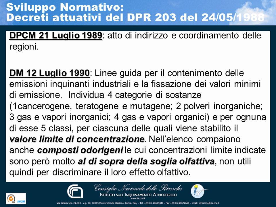 Sviluppo Normativo: Decreti attuativi del DPR 203 del 24/05/1988